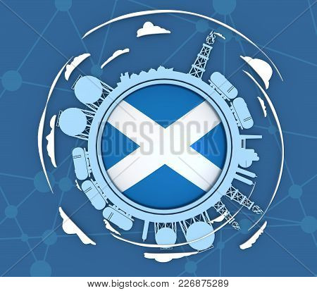 Circle With Energy Relative Silhouettes. Objects Located Around Circle. Industrial Design Background