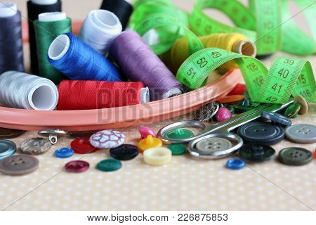 Objects For Needlework And Sewing: Different Buttons, Colorful Threads, Hoops, Meter For Measuring A