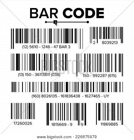 Bar Code Set Vector. Abstract Product Bar Codes Icons For Scanning. Upc Label. Isolated Illustration