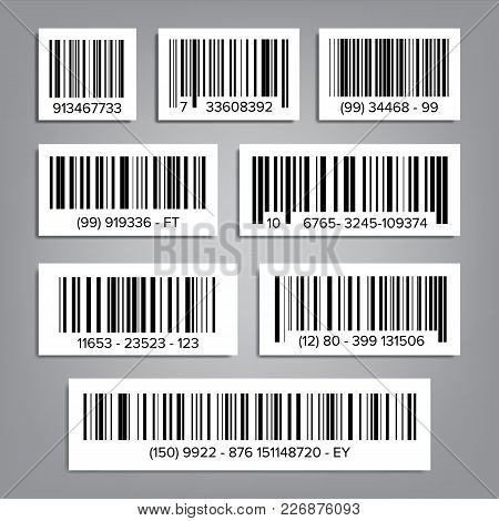 Bar Code Set Vector. Modern Simple Flat Barcode. Marketing, Fashionable Scan Sign. Isolated Illustra