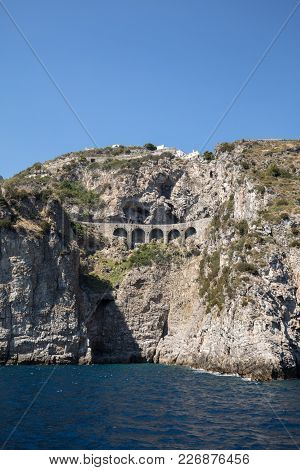 Scenic Route From Sorrento To Salerno Along The Amalfi Coast. Campania, Italy
