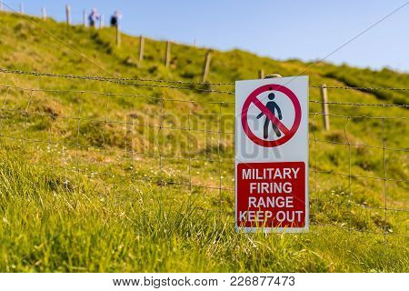 Sign: Military Firing Range Keep Out, Seen At Worbarrow Bay, Jurassic Coast, Dorset, Uk - With Two B
