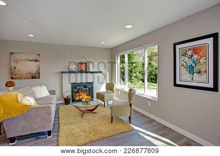 Freshly Remodeled Living Room Interior With Open Floor Plan