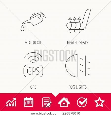 Motor Oil, Passing Fog Lights And Gps Icons. Heated Seats Linear Sign. Edit Document, Calendar And G