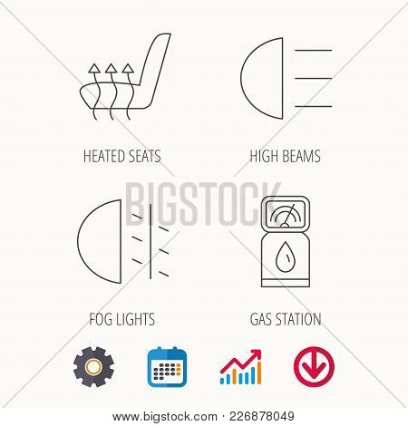 Petrol Station, Fog Lights And Heated Seats Icons. Gas Fuel Station Linear Sign. Calendar, Graph Cha