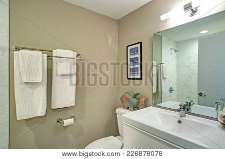 Ensuite Bathroom With Bathroom Vanity And A Toilet.