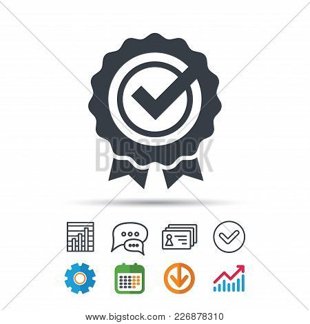 Award Medal Icon. Winner Emblem With Tick Symbol. Statistics Chart, Chat Speech Bubble And Contacts