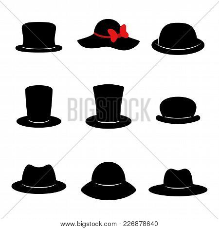 Hat Icons. Collection Of Black Different Hats Isolated On White Background. Vector