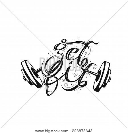 Minimal Logo Of Broken Weightlifting On White Background Vector Illustration Design.