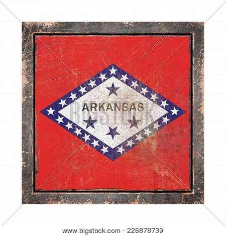 3d Rendering Of An Arkansas State Flag Over A Rusty Metallic Plate Wit A Rusty Frame. Isolated On Wh