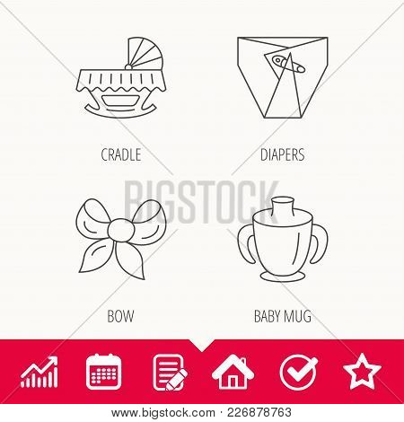 Baby Mug, Diapers And Cradle Bed Icons. Bow Linear Sign. Edit Document, Calendar And Graph Chart Sig