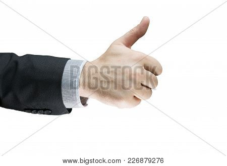 Businessman Showing Ok Sign With His Thumb Up Isolated With White Background. Success Business Deal.
