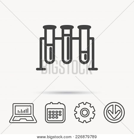 Laboratory Bulbs Icon. Chemistry Analysis Sign. Science Or Pharmaceutical Symbol. Notebook, Calendar
