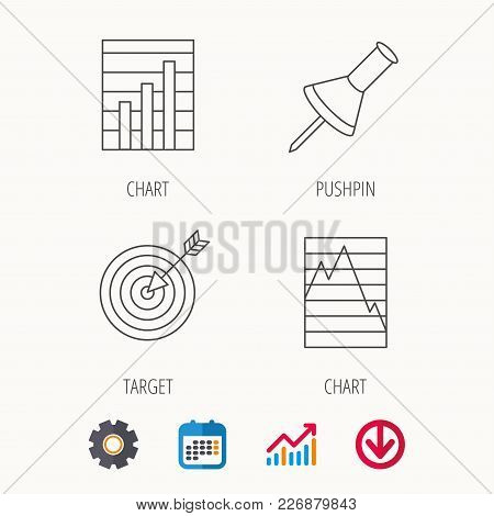 Pushpin, Graph Charts And Target Icons. Supply And Demand Linear Signs. Calendar, Graph Chart And Co