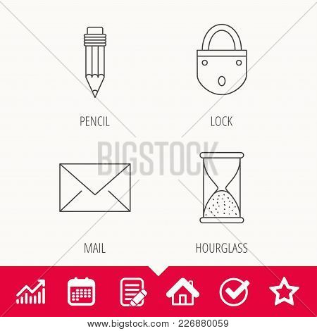 Mail Envelope, Pencil And Lock Icons. Hourglass Linear Sign. Edit Document, Calendar And Graph Chart