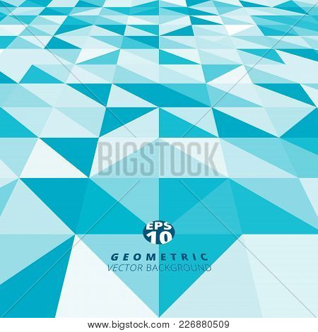 Abstract Blue And White Color Triangle, Square Pattern Perspective Background Texture. Vector Graphi