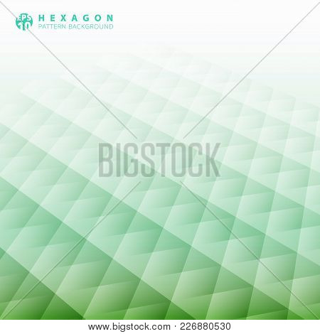 Abstract Geometric Hexagon Pattern Perspective Green Color Background, Creative Design Templates, Ve