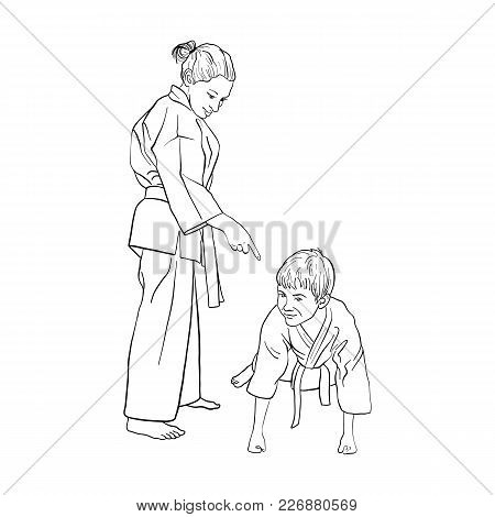 Young Karate Boy And Girl, Training, Strength Exercises, Push-ups, Hand Drawn Vector Illustration