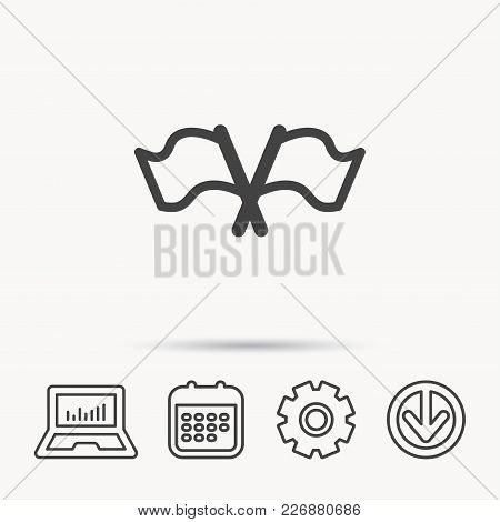 Crosswise Waving Flag Icon. Location Pointer Sign. Notebook, Calendar And Cogwheel Signs. Download A