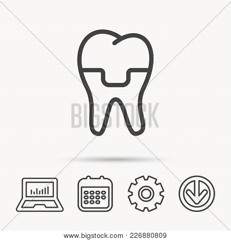 Dental Crown Icon. Tooth Prosthesis Sign. Notebook, Calendar And Cogwheel Signs. Download Arrow Web