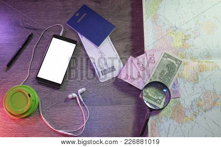 Travel Planning Concept Background, Top View Of Travelers Accessories, The Essential Vacation Items