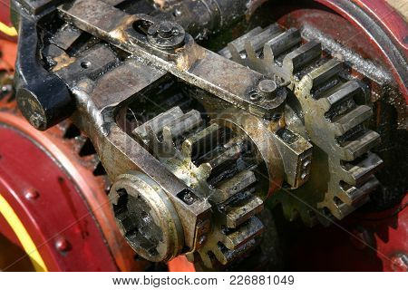 Gears And Cogs On Steam Powered Scale Model Traction Engine.