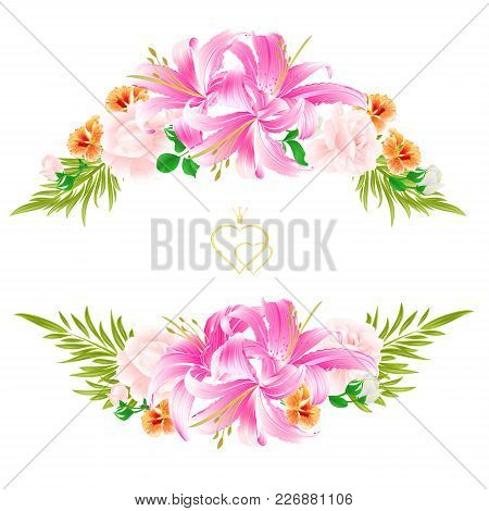 Bouquet With  Flowers  Arrangement, With Beautiful Lilies,light Pink Roses And Watercress Vintage Ve