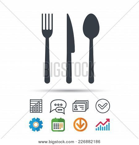 Fork, Knife And Spoon Icons. Cutlery Symbol. Statistics Chart, Chat Speech Bubble And Contacts Signs