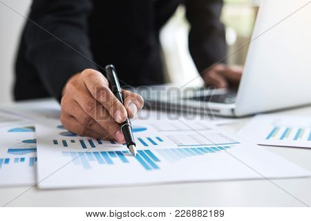 Business Financing Accounting Banking Concept, Business Woman Using Laptop And Doing Finances, Calcu