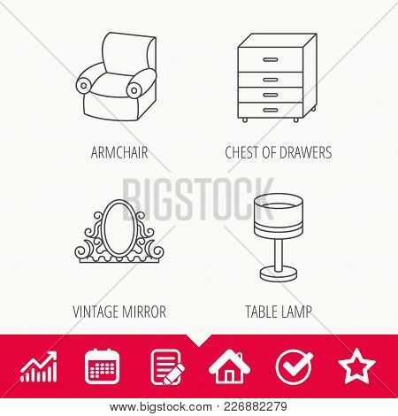 Vintage Mirror, Table Lamp And Armchair Icons. Chest Of Drawers Linear Sign. Edit Document, Calendar