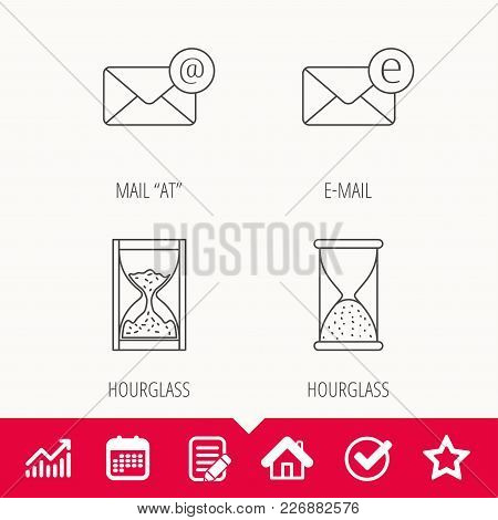 Mail, E-mail And Hourglass Icons. E-mail Inbox Linear Sign. Edit Document, Calendar And Graph Chart