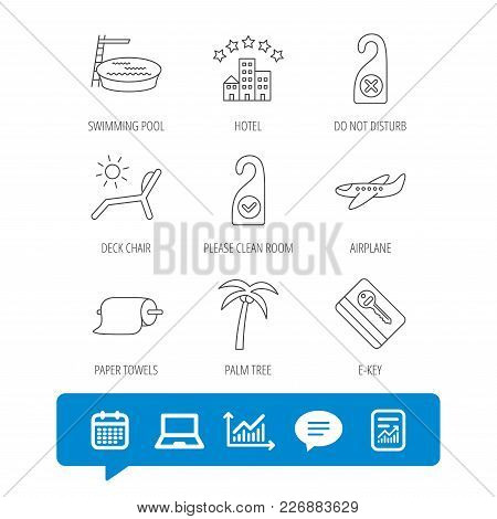 Hotel, Swimming Pool And Beach Deck Chair Icons. E-key, Do Not Disturb And Clean Room Linear Signs.