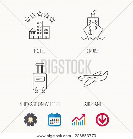 Hotel, Cruise Ship And Airplane Icons. Baggage Linear Sign. Calendar, Graph Chart And Cogwheel Signs