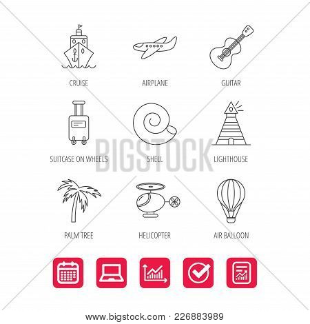 Cruise, Airplane And Helicopter Icons. Palm Tree, Shell And Lighthouse Linear Signs. Air Balloon, Gu