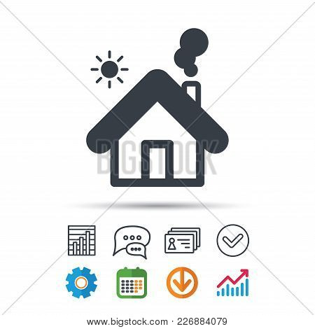 Home Icon. House Building Symbol. Real Estate Construction. Statistics Chart, Chat Speech Bubble And