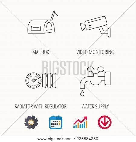 Water Supply, Video Camera And Mailbox Icons. Radiator With Regulator Linear Sign. Calendar, Graph C