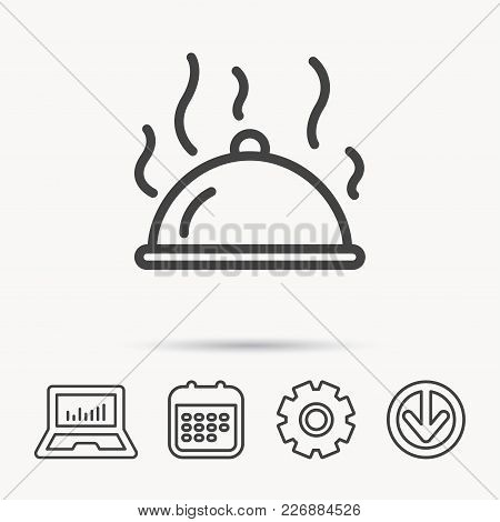 Restaurant Cloche Platter Icon. Hot Food Sign. Notebook, Calendar And Cogwheel Signs. Download Arrow