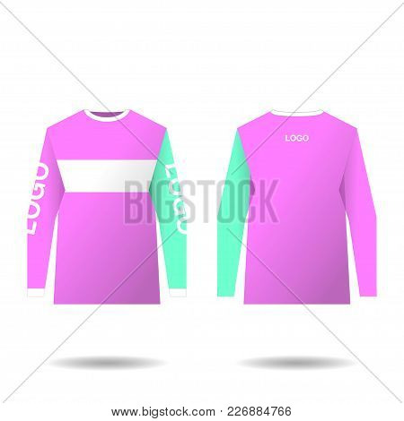 Female Jersey Design For Extreme Cycling. Mountain Bike Jersey. Vector Illustration For Sublimation