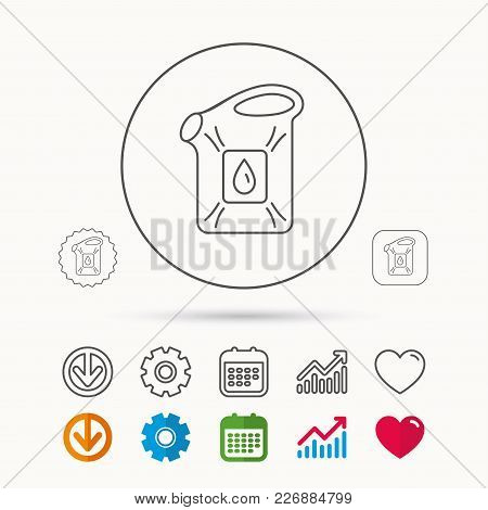 Jerrycan Icon. Petrol Fuel Can With Drop Sign. Calendar, Graph Chart And Cogwheel Signs. Download An
