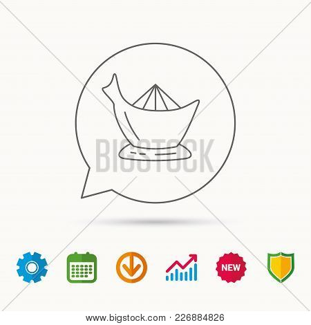 Juicer Icon. Squeezer Sign. Kitchen Electric Tool Symbol. Calendar, Graph Chart And Cogwheel Signs.