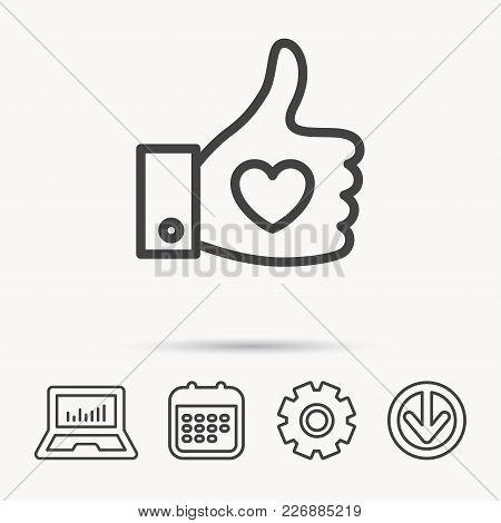 Thumb Up Like Icon. Super Cool Vote Sign. Social Media Symbol. Notebook, Calendar And Cogwheel Signs
