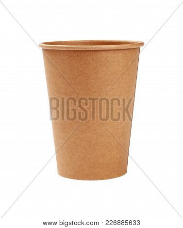 Close Up One Big Empty Brown Paper Parchment Coffee To Go Cup Isolated On White Background, Low Angl
