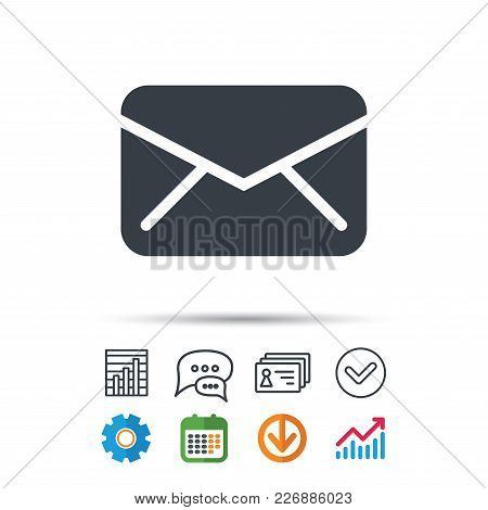 Envelope Icon. Send Email Message Sign. Internet Mailing Symbol. Statistics Chart, Chat Speech Bubbl