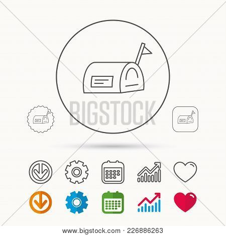 Mailbox With Flag Icon. Post Email Box Sign. Calendar, Graph Chart And Cogwheel Signs. Download And