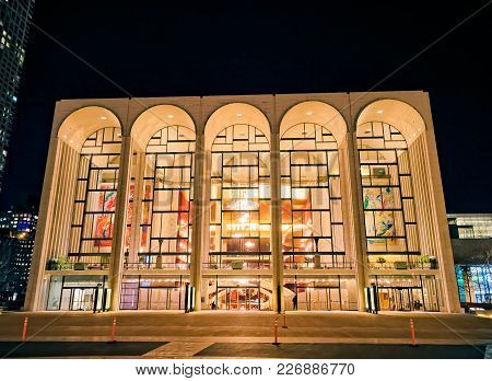 New York, Usa - January 13, 2018: Metropolitan Opera House Is Part Of The Lincoln Center Located At