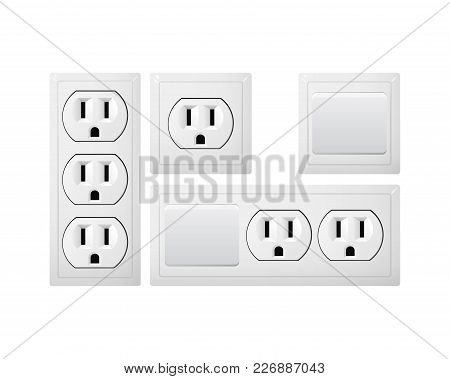 Electrical Socket Type B With Switch. Power Plug Vector Illustration. Realistic Receptacle From Usa.