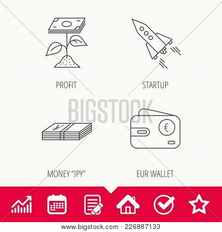 Profit Investment, Cash Money And Startup Rocket Icons. Euro Wallet Linear Sign. Edit Document, Cale