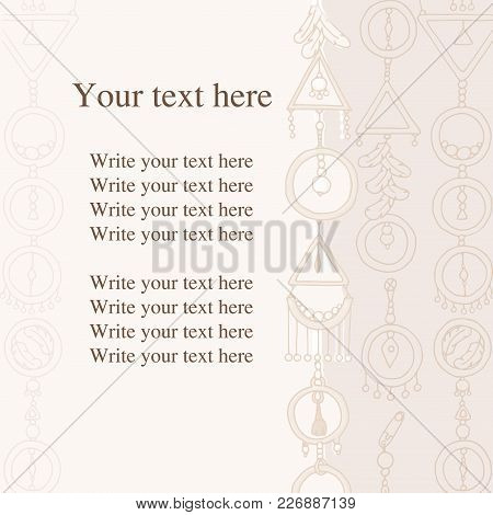 Write Your Text Here. Vector Postal. Greeting Card In The Style Of Boho. Postcard Of Pastel Tones