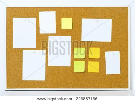 Items Pinned To A Cork Message Board With Wood Frame, For Customized Text Or Images. Yellow Stick No