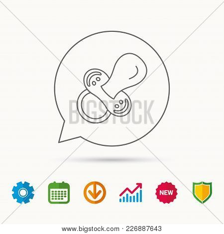 Pacifier Icon. Nipple Or Dummy Sign. Newborn Child Relax Equipment Symbol. Calendar, Graph Chart And